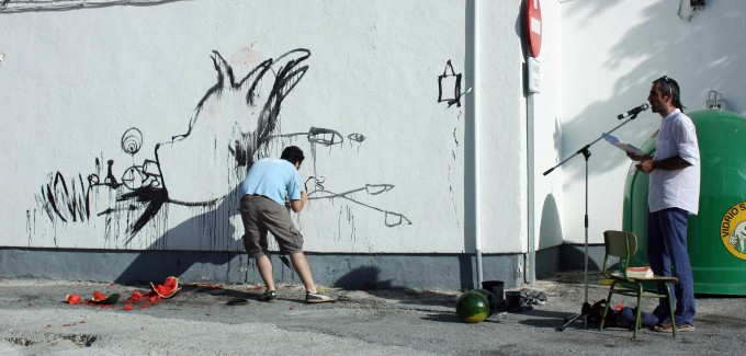 """""""Mural alRaso"""" junto al poeta Luis Melgarejo (2010)"""