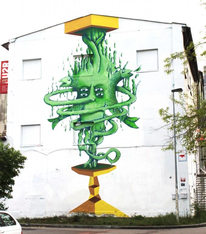"""""""Deba(tête) Inter(ir)acional""""  mural in the Wall Gallery, MeetFactory (Prague)"""