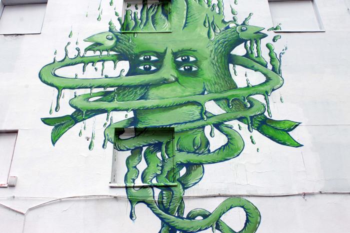 """""""Deba(tête) Inter(ir)acional"""" mural en la Wall Gallery, MeetFactory (Praga)"""
