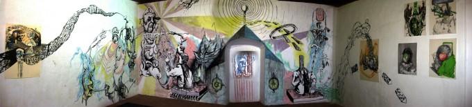 """Mural """"Recuerdo de aquel mito delirante"""" junto a Anders Gronlien (2011)"""